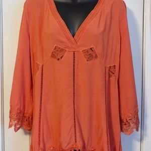 Monoreno Russet Lace Top 3/4 Sleeve. Sz Med NWT